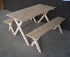 A&L Furniture 5' Amish-Made Pine Economy Picnic Table, Unfinished or Cedar Stain