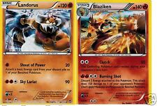 LANDORUS 58/111 + Blaziken 14/111 XY Furious Fists RARE HOLO  Mint Pokemon set