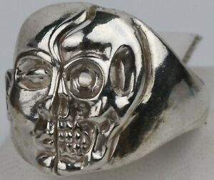 SKULL Face MASK Ring STERLING Silver 925 Biker THEATER Gothic MANs JEWELRY s14.5