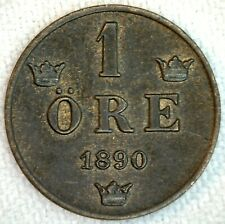 1890 Sweden One Ore Bronze Coin XF Extra Fine Swedish 1 Ore Coin K20