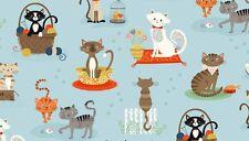 """Crafty gatti in tessuto di cotone blu chiaro Makower Taglia 22"""" x18"""" più grande disponibile"""