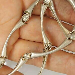 "Solid sterling silver 925 necklace unique chic style unusual Az454 elegant 16 ""."