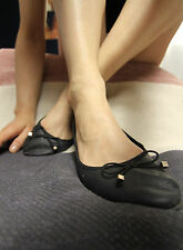 Ballerina Black Faux Leather Worn Work 41 7 Flat Ballet Pumps Bow