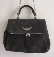 ZADIG & VOLTAIRE Weathered Black Grained Lambskin Leather Satchel/Bag w/Chain