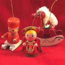 3 xmas ornaments cute angel rocking horse sled painted wood holiday decorations