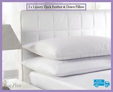 2 x Luxury Duck Feather & Down Pillow, Comfortable Extra Filling Hotel Quality