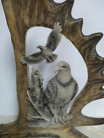 Beautiful Eagle Figurine on Branch in a Moose Horn from Alaska