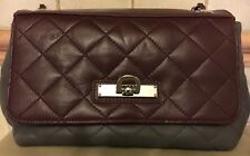 DKNY Small Grey + Maroon Quilted Lamb Nappa Bag Silver Chain + Leather Strap