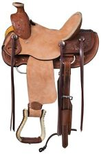 13 Inch Youth Winslow Wade Hard Seat Western Saddle - Med Oil-Roughout Leather