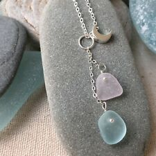 Unique and Versatile Sterling Silver Moon and Genuine Sea Glass Necklace