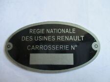Nameplate Renault 4CV R4 Caravelle Floride R 4 5 6 Body Work Shield S37