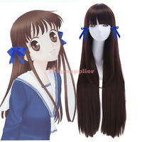 FRUITS BASKET Tohru Honda Shibuya Rin Cosplay Wig Long Dark Brown Straight Hair
