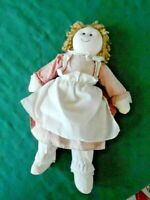 CUTE COTTON RAG DOLL WITH A RED AND WHITE GINGHAM DRESS, CIRCA1970