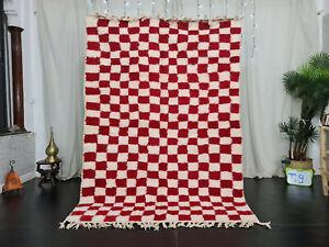"Moroccan Handmade Beni Ourain Carpet 5'6""x8'3"" Berber Checkered Red White Rug"