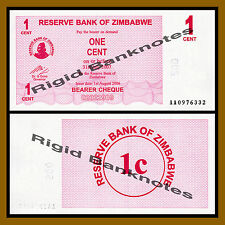 Zimbabwe 1 Cent Bearer Check, 2006 P-33 Unc