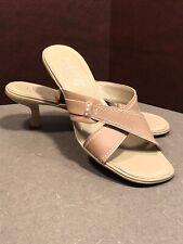 Franco Sarto Slides Sandals Tan Smooth Leather  SZ 7.5