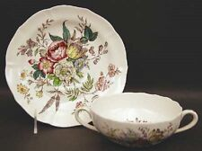 2 Spode Gainsborough (Marlborough) Flat Cream Soup Bowl & Saucer Sets S245