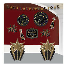 10 Piece Hollywood Party Room Decorating Kit Black & Gold Party Decorations
