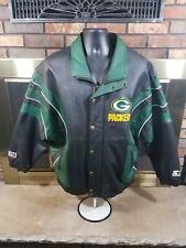 Vintage Starter Green Bay Packers NFL Football Leather Bomber Jacket Mens Large