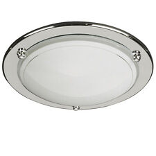 Basic Chrome Flush Ceiling Light With Opal Shade 60W by Philips - Bargain Price