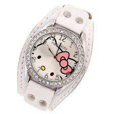 Reloj HELLO KITTY  watch Correa blanca ancha con remaches A1115