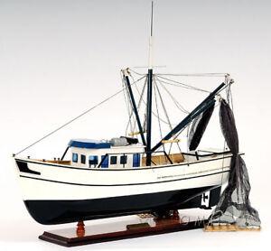 "Gulf Shrimp Trawler Louisiana Work Boat Wooden Fishing Model 25"" Assembled New"