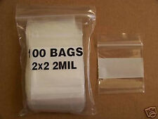 Plastic Bag 2x2 Zip Lock White Block Small Poly 100