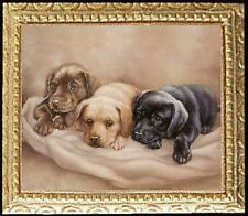 LAB PUPPIES Dollhouse Picture FRAMED Dog Art Miniature - MADE IN AMERICA