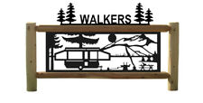 CAMPING LOG SIGN - MOUNTAIN SCENES - POP UP CAMPERS