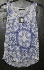 Atmosphere UK 10  Blue White With Pattern Sleeveless Top BNWT