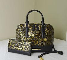 Brahmin Gold Rousseau Rose Floral Embossed Vivian Satchel+ Soft Checkbook Wallet