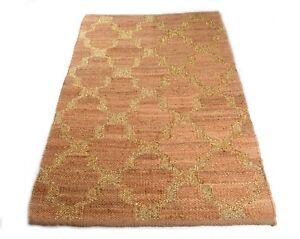 Broad Rib Pattern Jute Hemp & Gold Zari Dining Room Rug 4x6 Feet DN-1973