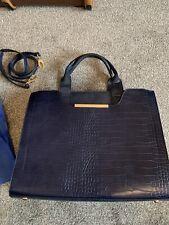 BNWOT Bessie Bag Navy Blue Crocodile Skin Large Enough For Laptop Shoulder Strap