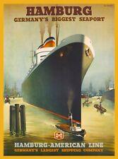 Hamburg Germany's Biggest Seaport Germany Vintage Oceanliner Travel Art Poster