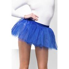 Women's Girls Blue Petticoat Tulle Tutu Skirt Hen Night 1980's Fancy Dress Neon