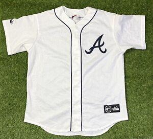 MLB Vintage Atlanta Braves Baseball Jersey Size Large Majestic White Button Up