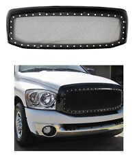 For 06 08 Dodge Ram 1500 2500 3500 Black Rivet Style SS Wire Mesh Grille Shell