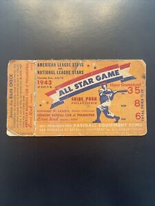 1943 All Star Game Full Unused Rare Ticket Shibe Park Philly - Stan Musial Debut