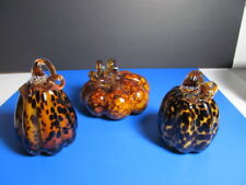 VINTAGE HAND BLOWN AMBER SOMMERSO ART GLASS TABLE ORNAMENT PUMPKIN SET OF 3