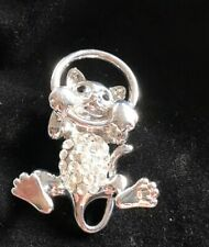 Silver Toned With Clear Stones Cat Pin Brooch - New - Gift Bagged - Velvet Bag