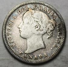 Canada 1899 Small 9's Silver 10 cents, Old Date Queen Victoria (30e)