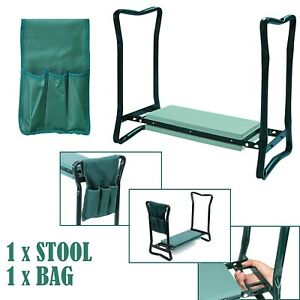 FOAM PADDED GARDEN PORTABLE FOLDING KNEE PAD KNEELER SEAT STOOL AND TOOL BAG