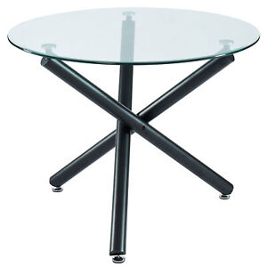 Madeline Crossover Design Metal Legs & 10mm Tempered Glass Dining Table in Black