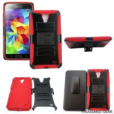 For Alcatel One Touch Pop Mega LTE A995L Kickstand Clip Holster Case Red Black