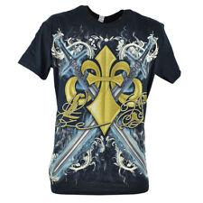 Land of the Sword Fleur De Lis Silver Foil Mens Adult Graphic Tshirt Tee