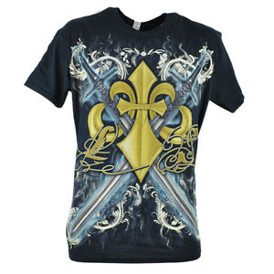 Land of the Sword Fleur De Lis Silver Foil Mens Adult Graphic Tshirt Tee