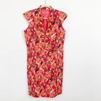 Eliza J New York Size 8 Orange Pink Jeweled V Neck Sleeveless Sheath Dress