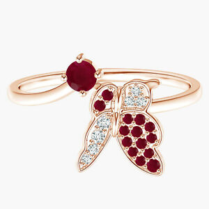 Butterfly Ring!! Round Ruby Gemstone Stackable Bypass Ring 9k Rose Gold