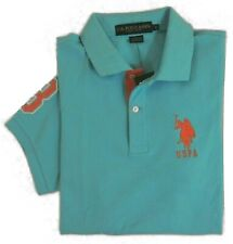 Men US Polo ASSN Pony Short Sleeves Striped-Collar Classic Mesh Shirt S L Blue