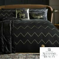 Laurence Llewelyn-Bowen Cocktail Embroidered Duvet Cover Bed Set Black & Gold